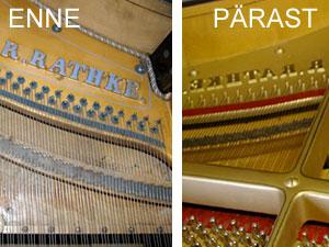 Klaveri keelestus enne ja pärast remonti
